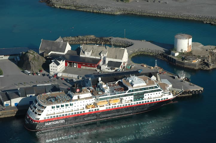 The coastal steamer/ferry (Hurtigruten) is 250 meters away. The boat comes in two times every evening. Bodø is four hours amazing boat trip away.