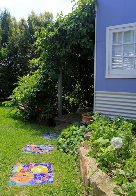 The entrance with hanging passionfruit vine.
