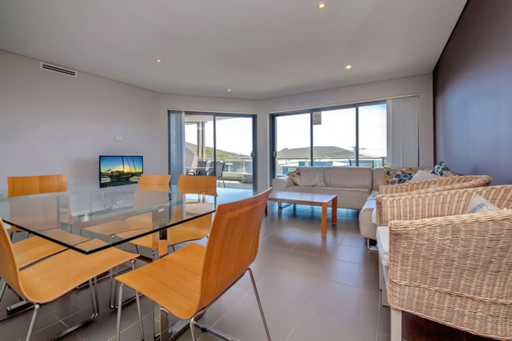 Dining & lounge room with views over Fingal Bay