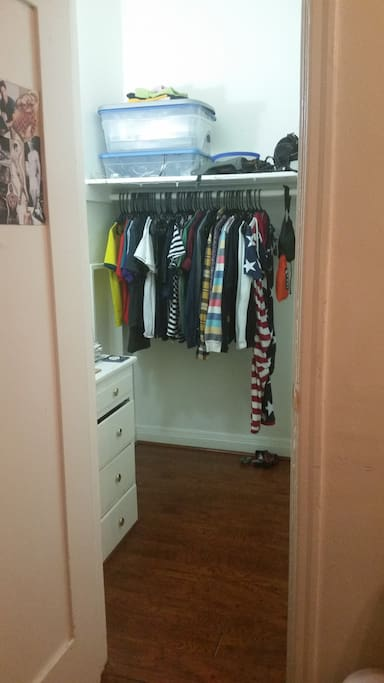 Space for you to hang clothes, and a dresser.