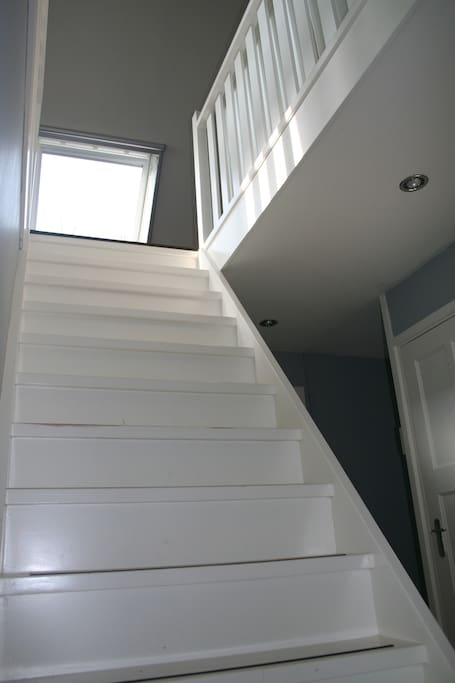 Open staircase to attic bedroom