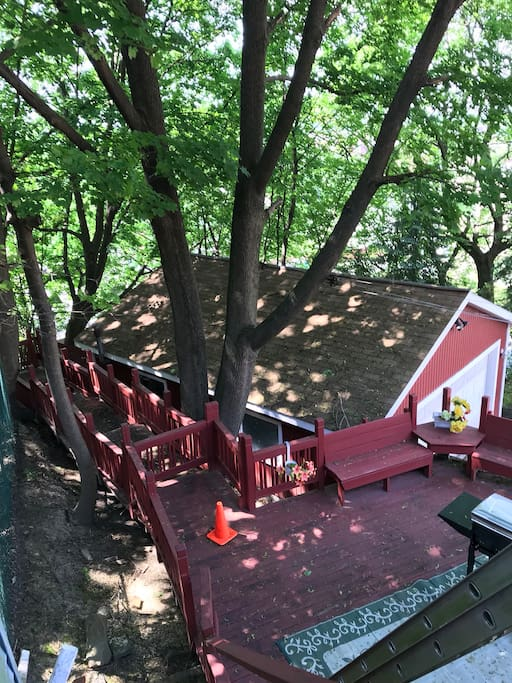 """View from the """" tree house"""" bedroom"""