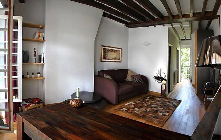 Charmant studio typique parisien poutres/ Jardin! - Parigi - Appartamento