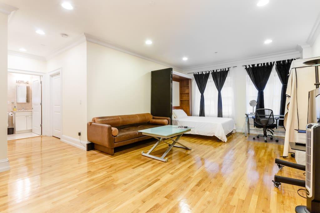 spacious studio pvt bath 2 blks to central park n