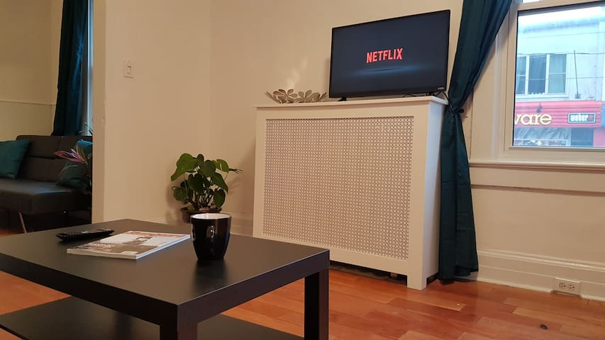 Smart HDTV. Youtube and Netflix access included.