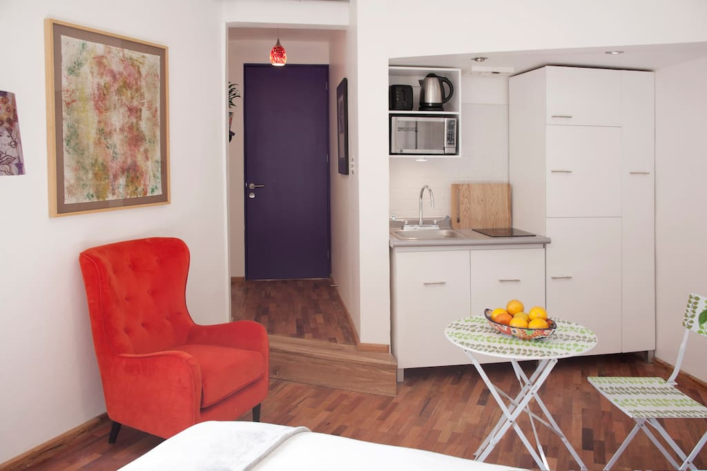 Kitchenette with induction stove, fridge, microwave and coffee maker