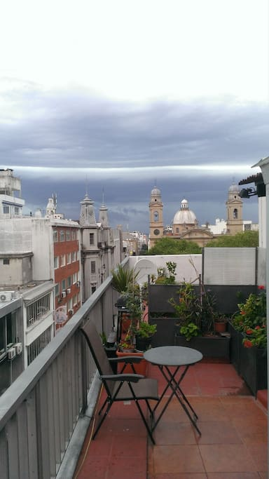 one of the nice storm that we can watch from the terace, above and behind the basilique ( church) of Plaza Matriz