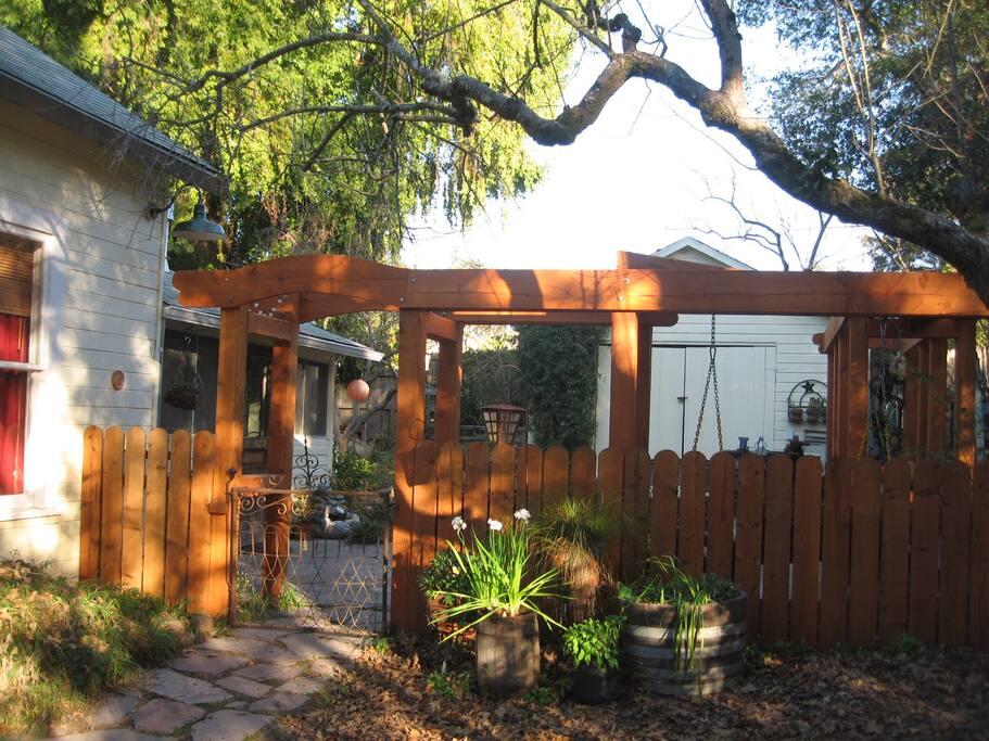 side entrance through patio