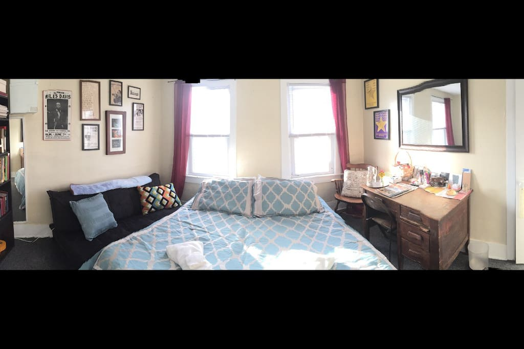This is your bedroom!  Welcome guests!  5 star rated queen air mattress (truly comfortable) choice of 4 pillows, plus 2 decorative pillows, fresh linens and towels, as well as light snacks and amenities await you.
