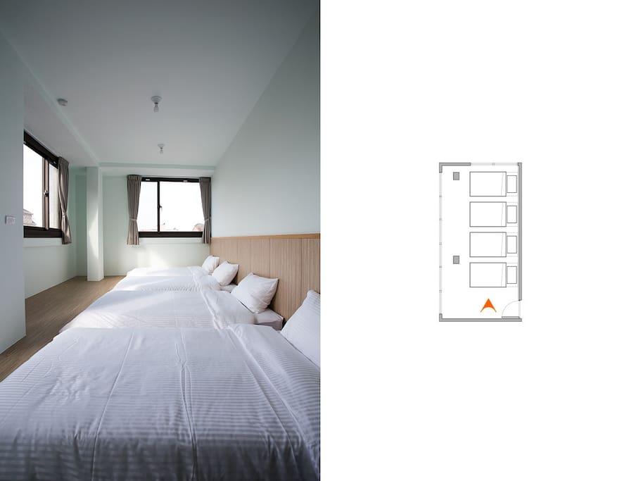 四人房單人床