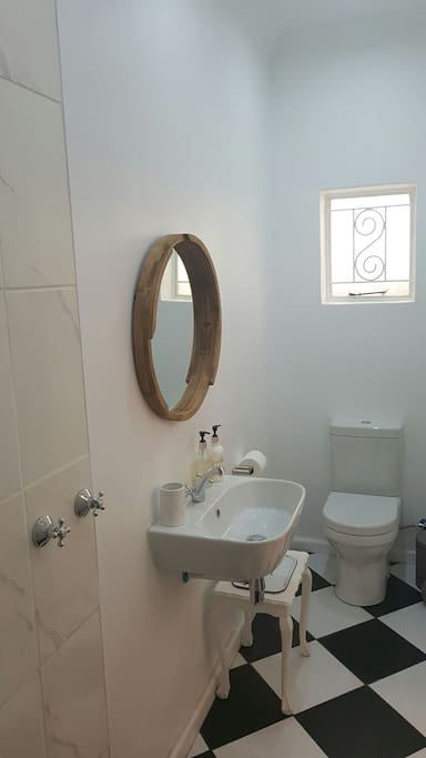 Bedroom 3 has a French style double bed, airconditioning, TV and en-suite bathroom with toilet, basin and large shower. It also has its own entrance.