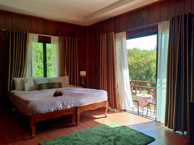 Thai style room with garden-lotus pond view