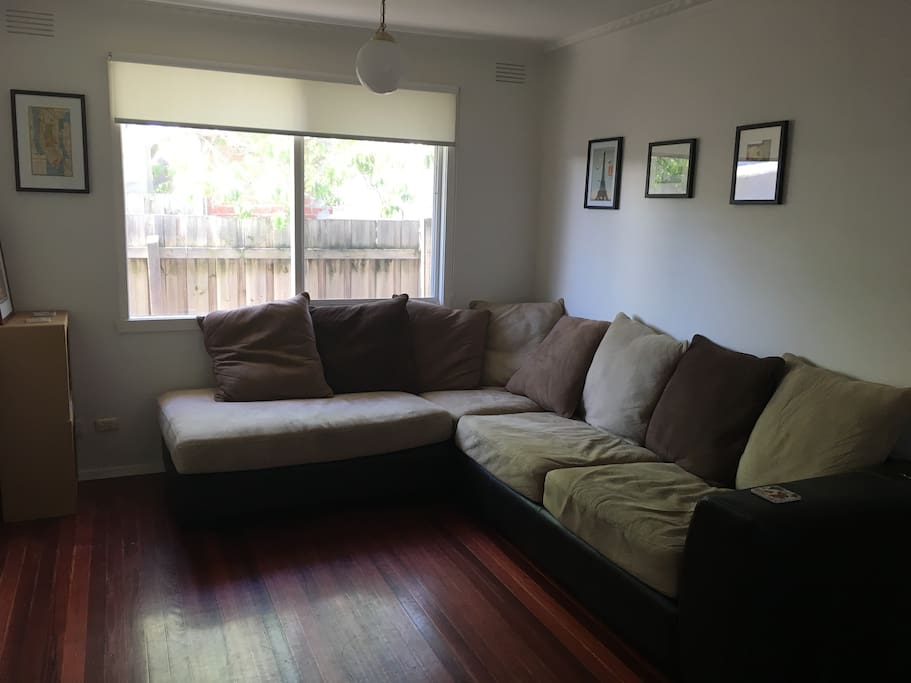 The lounge room, featuring the world's most inviting couch.