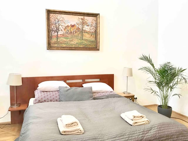 Large apartment in baroque house with great private terrace, three bedrooms, living room/kitchen and two bathrooms. Stay in centre of Prague, but in quiet and private place. On this picture you see bedroom nr. 2 with king-size bed and single bed.