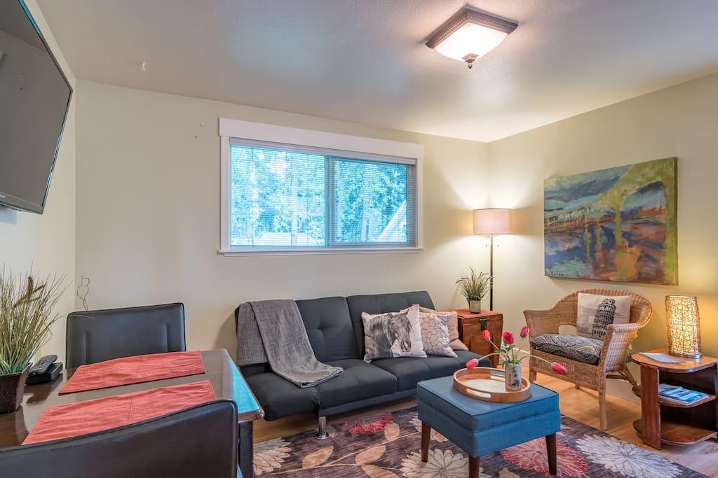 Full sized futon in living area