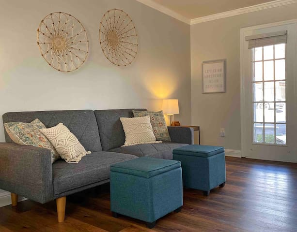 """Our little home away from home is a 475 SF studio with a """"Bali meets Broadway"""" vibe."""