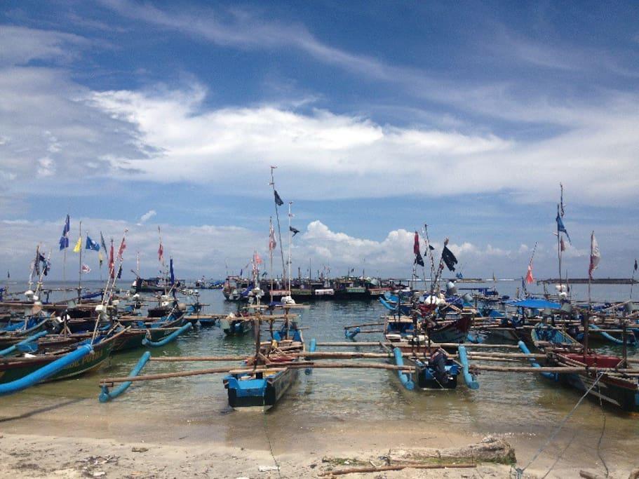 busy Fisherman village nearby