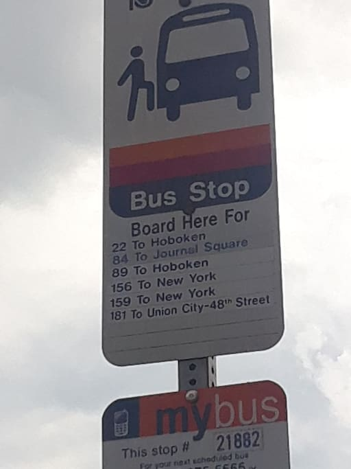 Bus stop showing easy access to NYC!