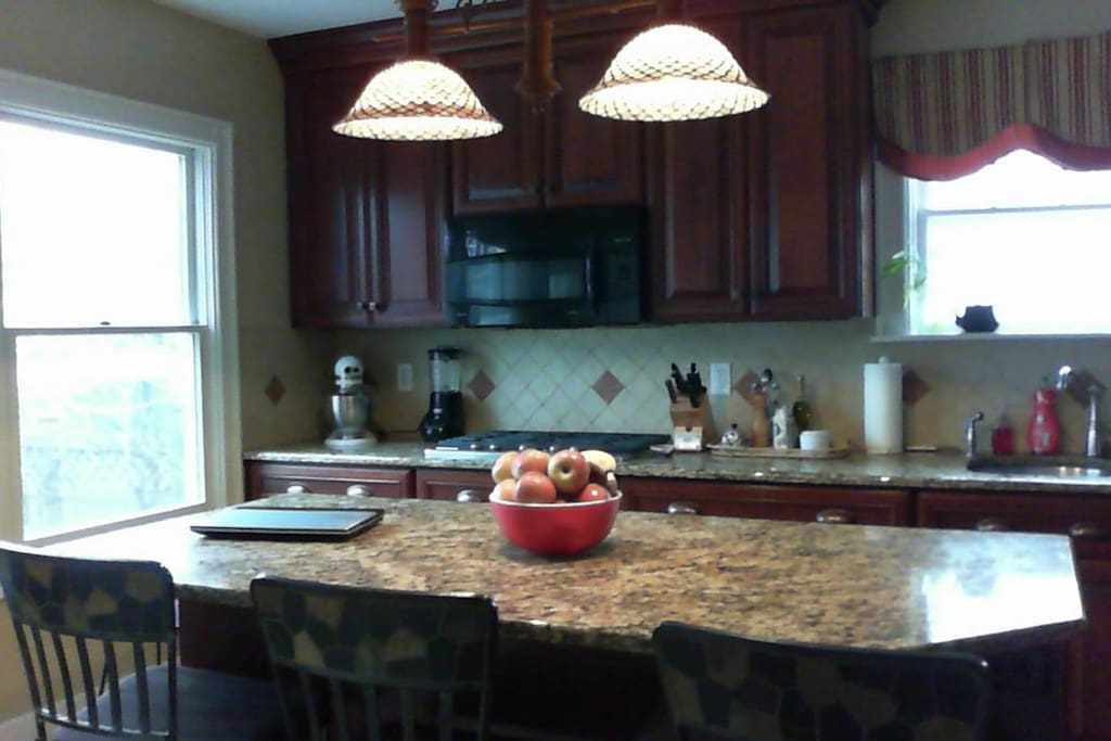 Gourmet Kitchen with double oven convection microwave and granite countertops