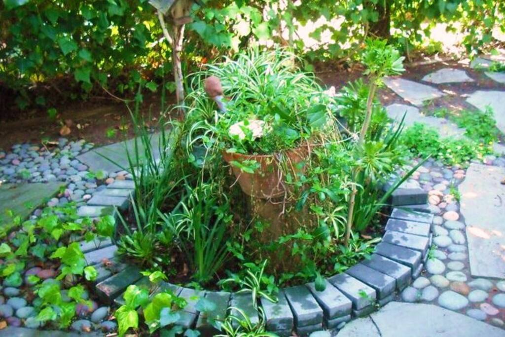 Serene garden spaces.