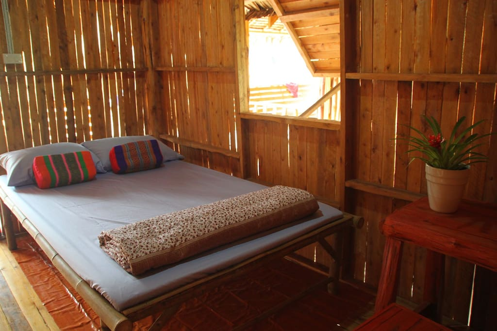 a bed in a small house