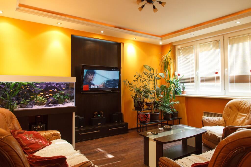 Living room with aquarium