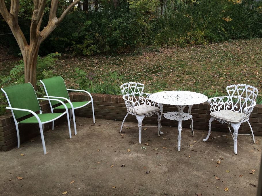 Small patio under Crepe Myrtle. Back yard fully fenced.