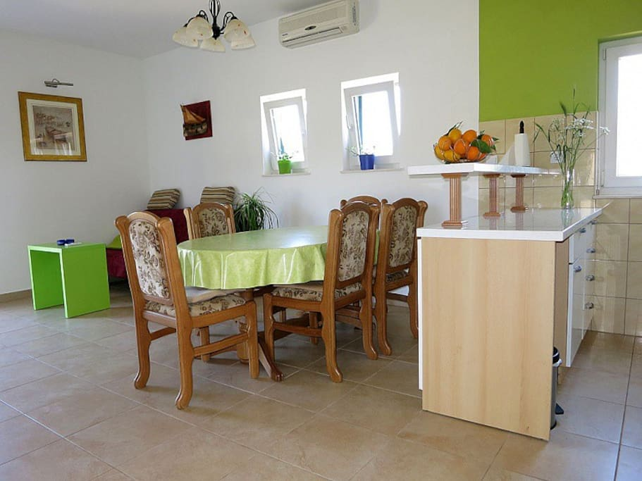 Bright and spacious kitchen, dining area  and living room