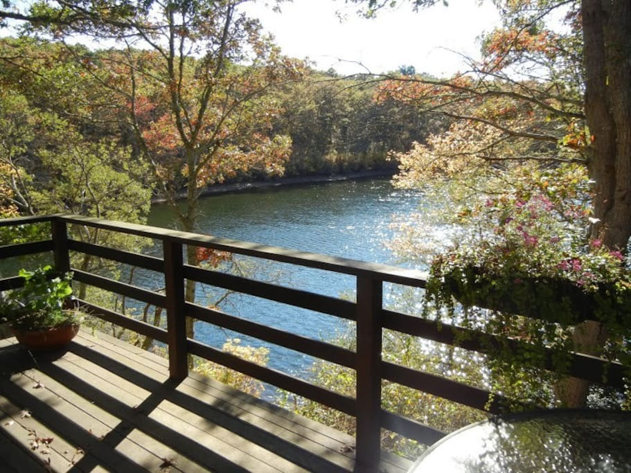 View of the pond from the deck.  Deck is equipped with seating for 6 plus a propane grill.