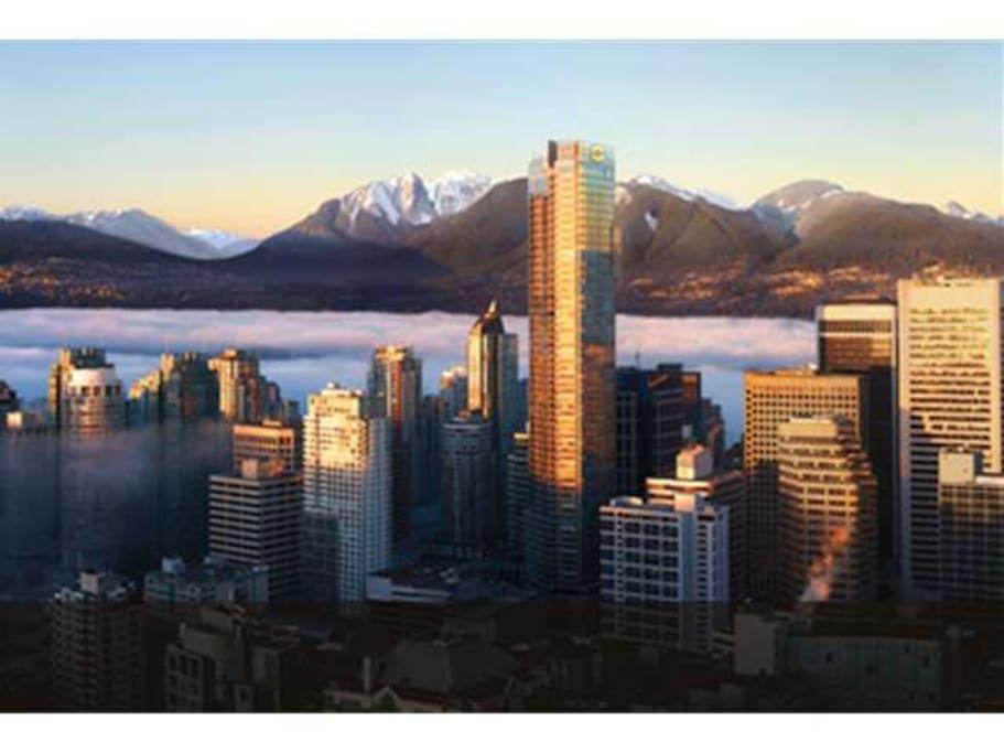 Tallest condo/hotel building in Vancouver: 61 storey