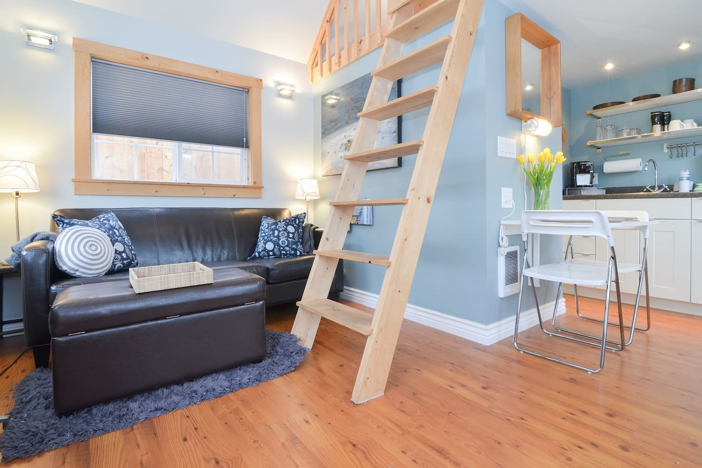 Very open and modern living space...note the ladder to the loft bed area.