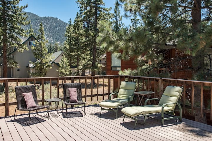 Your mountain home includes a spacious deck with expansive views.