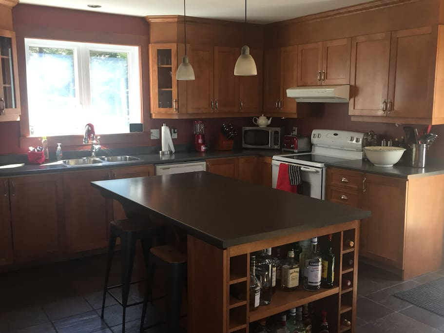 Large kitchen with great island open to living and dining
