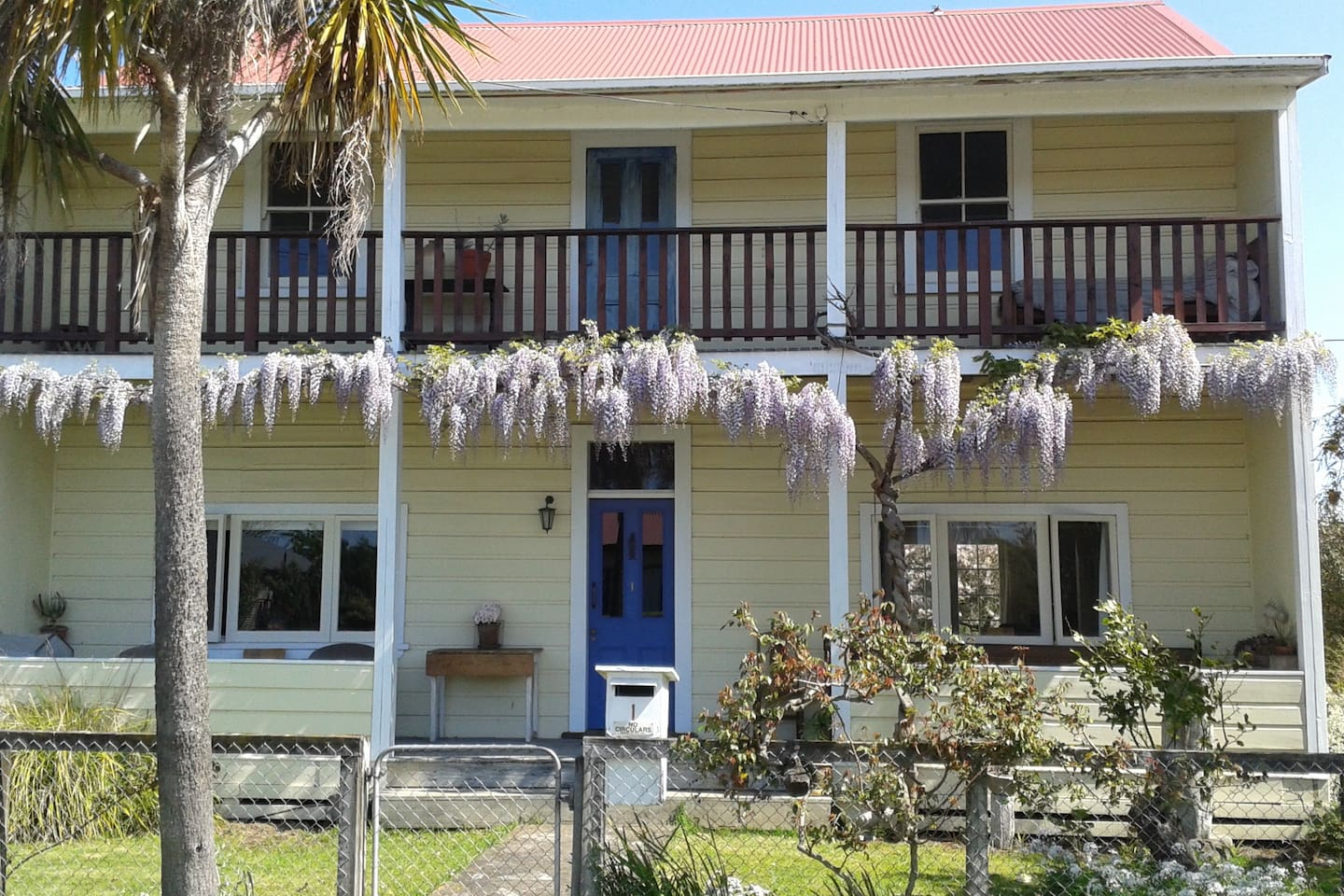 Front of house with wysteria in full-bloom
