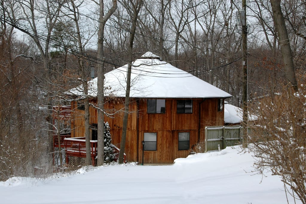 Our house in the winter snow.