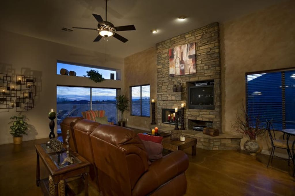 Family Room with Fire Place and Large screen TV