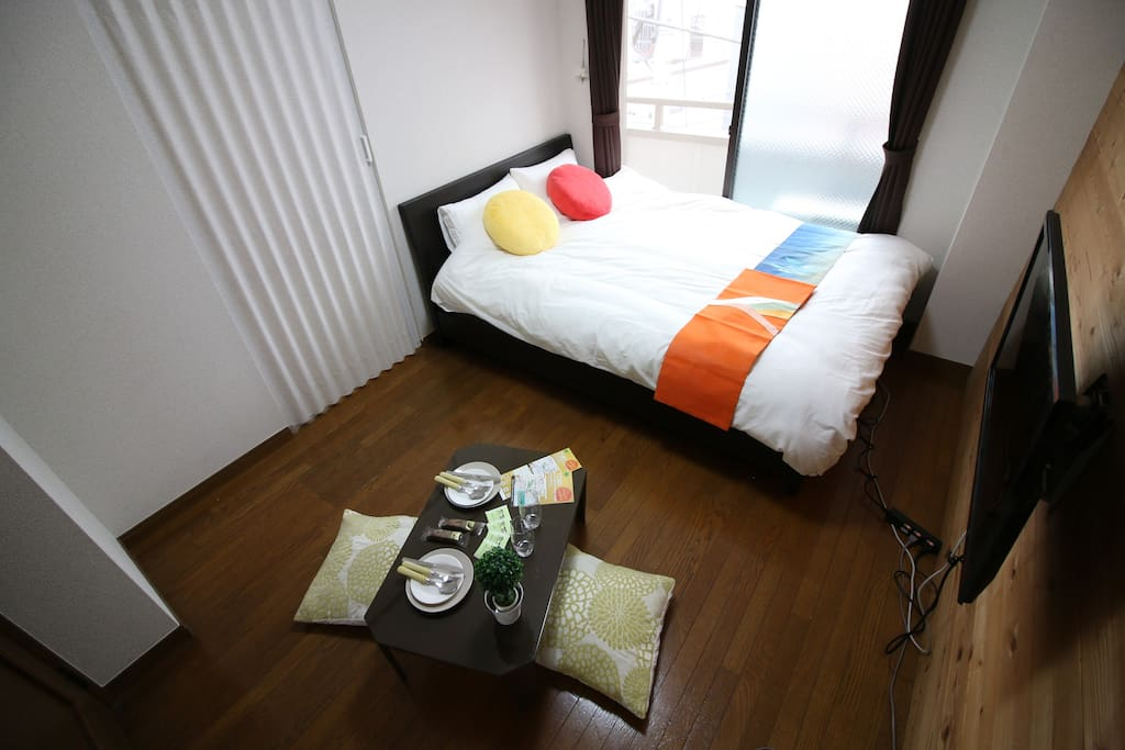 bedr oom2 a real double bed, 1 Japanese Futon set