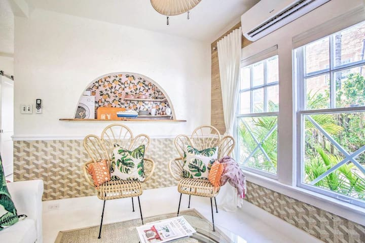 """""""Tangerine Dream"""" at The Citrus Cottage has 1 bed, 1 bath & room for 4 guests."""