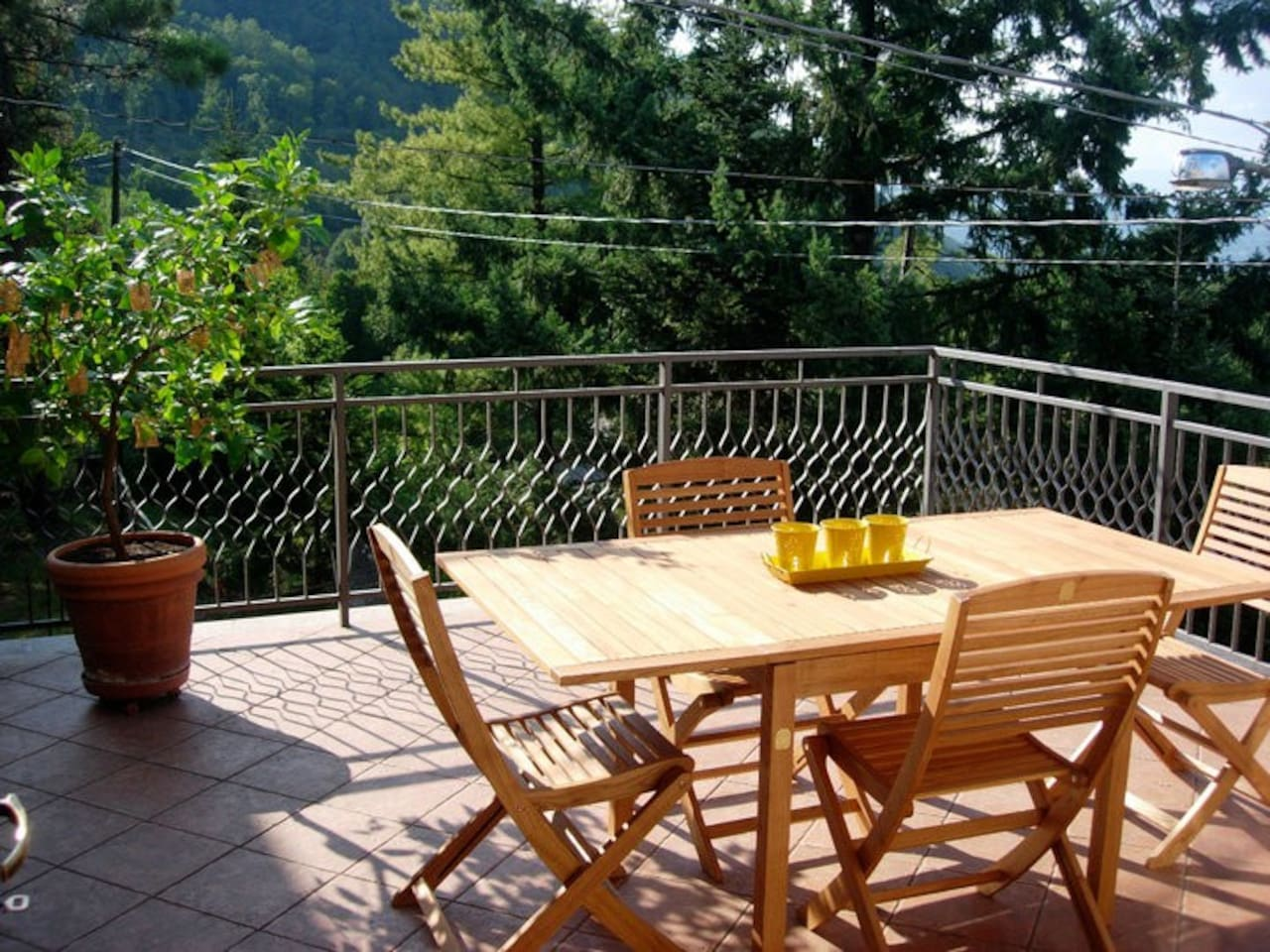 Beautiful terrace with mountain views for dining al fresco.