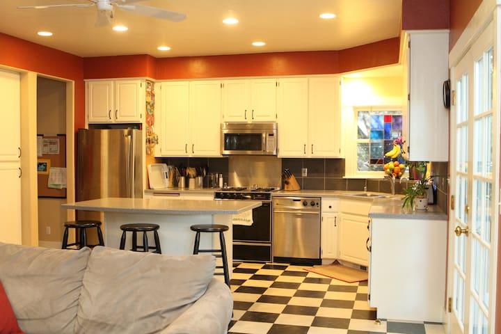 Open kitchen/family room.
