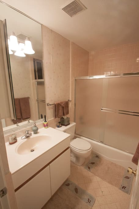 Your own private and fully stocked bathroom, with all the amenities you need for your stay.