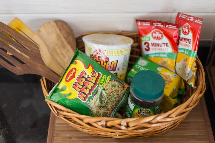 Ready-to-cook food packets for emergencies.