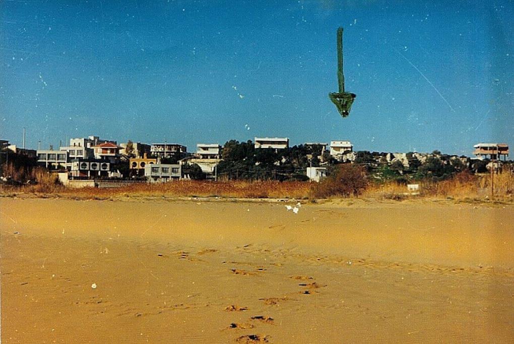 La Villetta ed il bilocale costruiti su pianoro alto 20 ml sul liv. mare, visti dalla spiaggia da cui distano  200 ml.