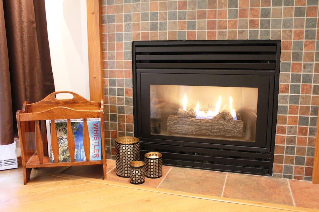 Cozy gas fire place