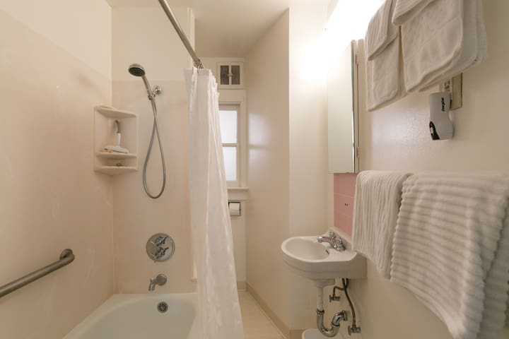 Bathroom showing hand-held shower and safety grab-bar, basin, towel bars