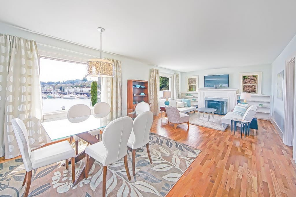 Open dining area and living room with Gig Harbor Bay through your window