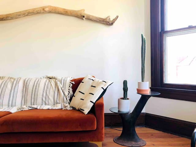 Living room accented with local finds
