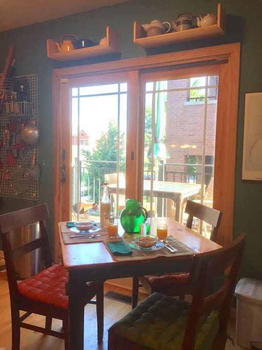 The eat-in kitchen has a table for meals. Or, take your food onto the deck. Coffee, tea, & fresh fruit are available here.