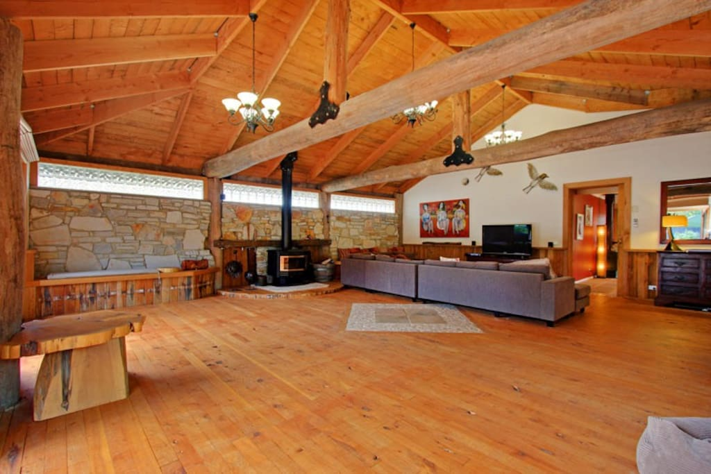 Rear angle of Living room with fireplace
