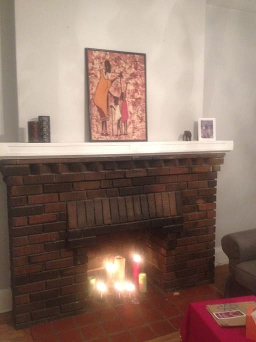 beautiful brick fireplace in the living room